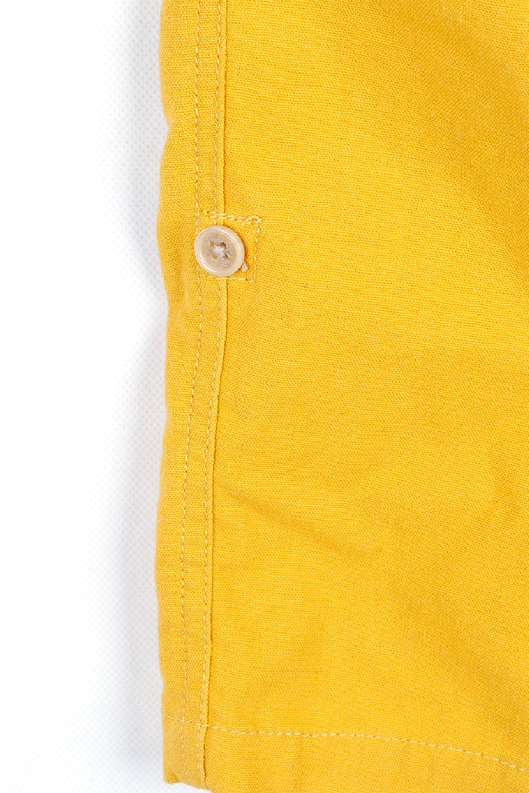 Bitz Kids  Yellow Linen Roll-up Pants - Back Cropped Image