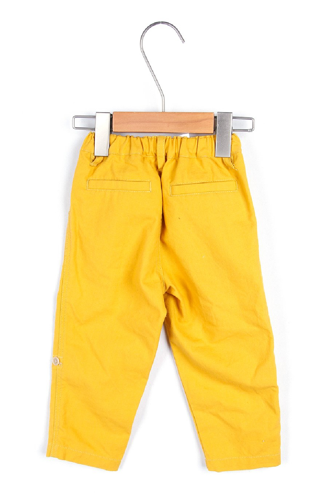 Bitz Kids  Yellow Linen Roll-up Pants - Front Full Image
