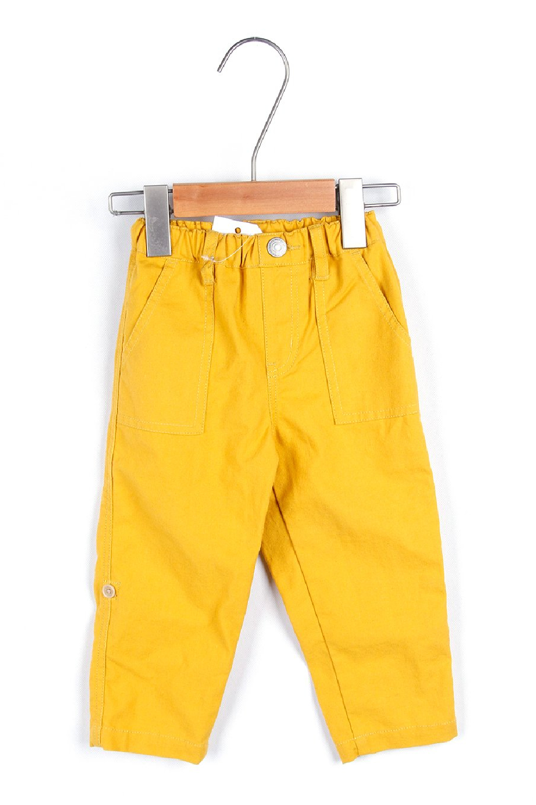 Bitz Kids  Yellow Linen Roll-up Pants - Front Cropped Image
