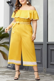 BAZ and BEA Yellow Off-The-Shoulder Jumpsuit - Product Mini Image