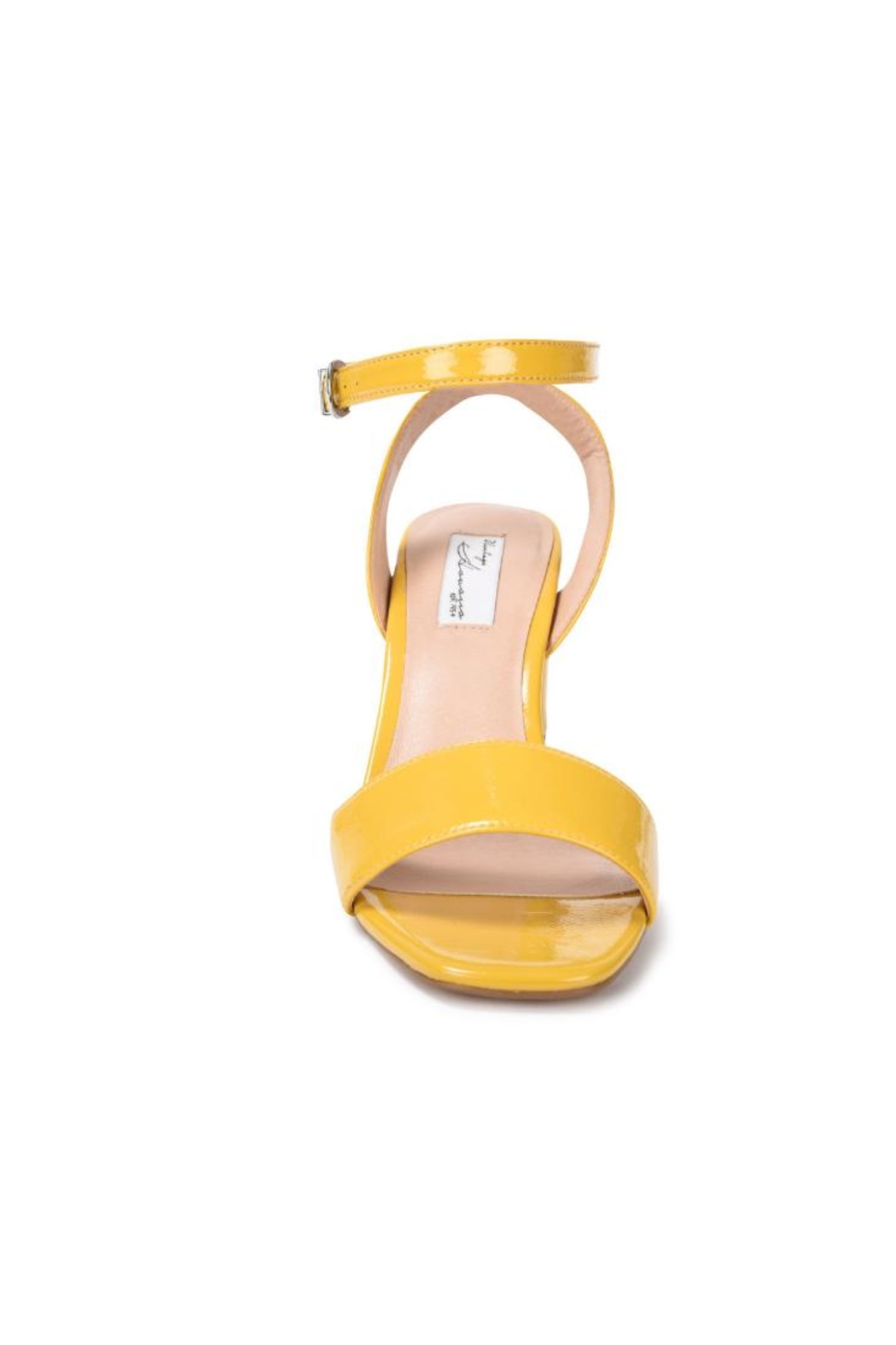 Vintage Havana Yellow Patent Sandal - Back Cropped Image