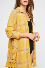 Free People Yellow Plaid Buttondown - Front cropped