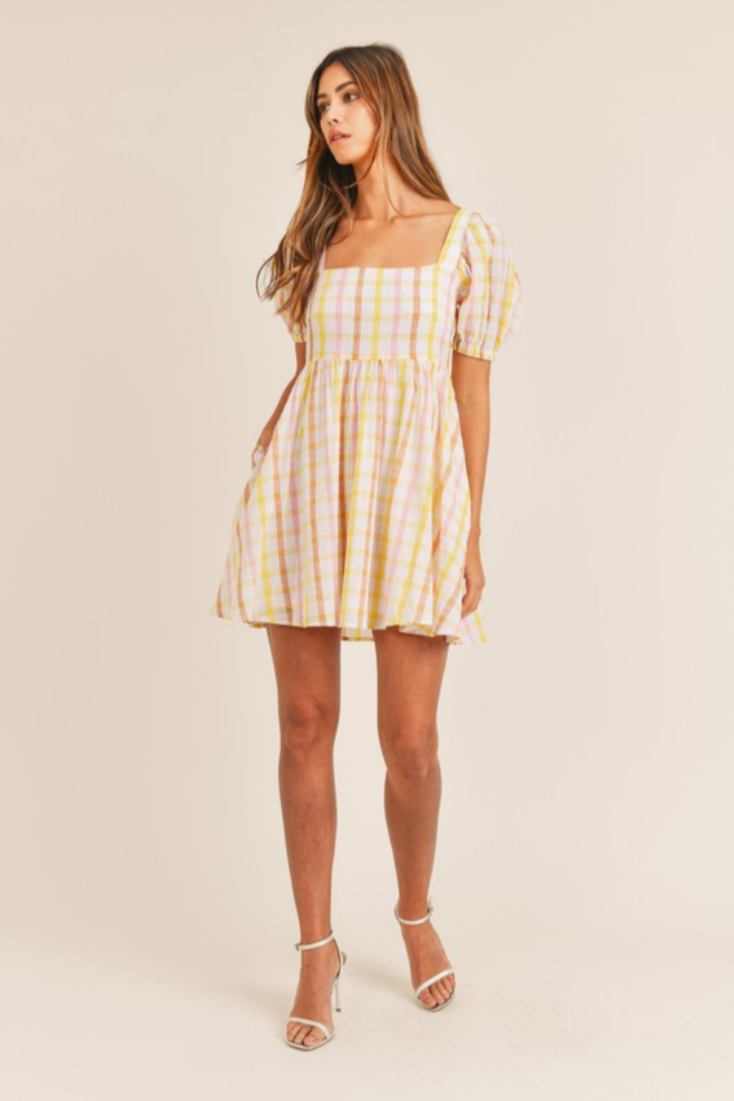 Mable Yellow Plaid Mini - Side Cropped Image