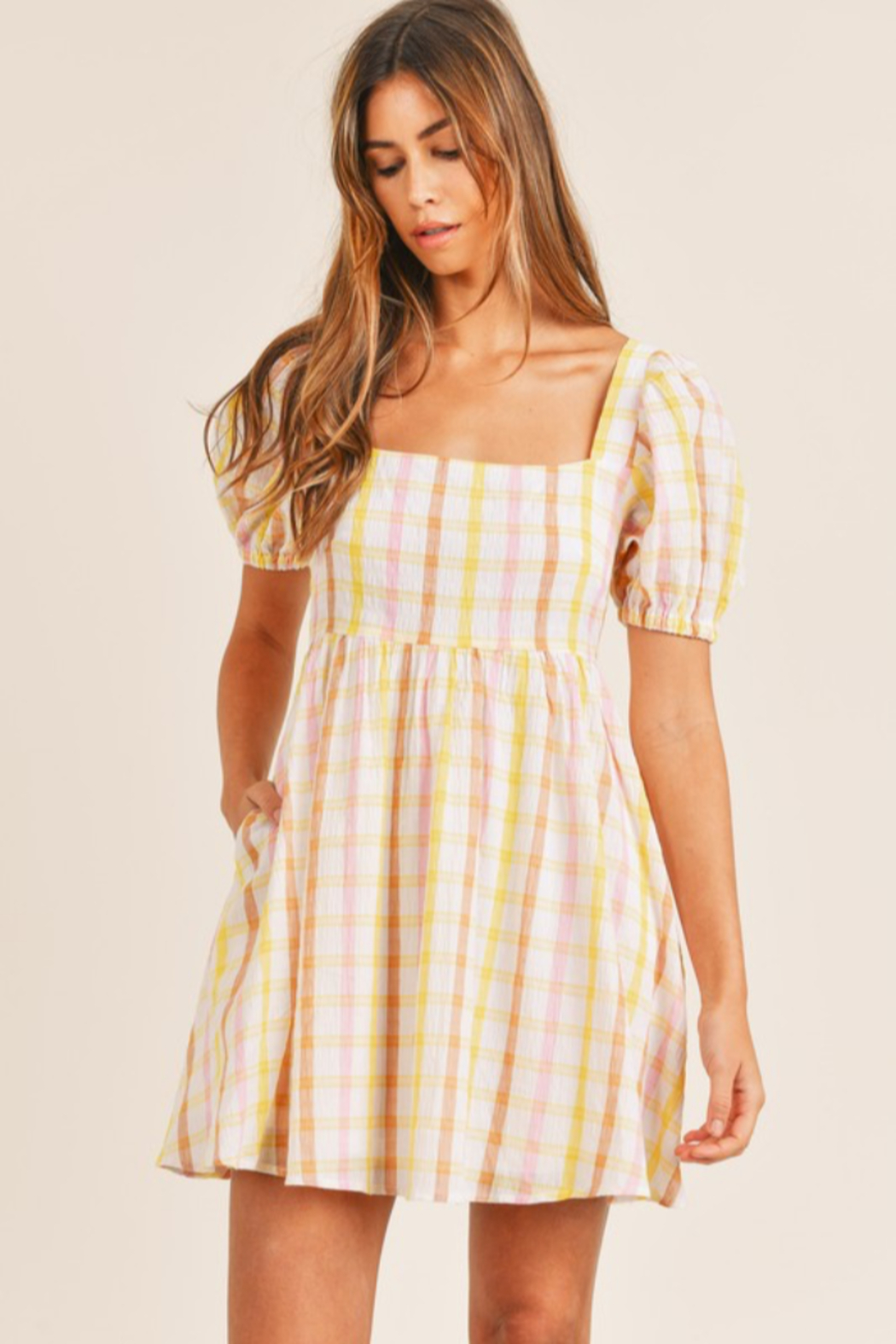 Mable Yellow Plaid Mini - Back Cropped Image