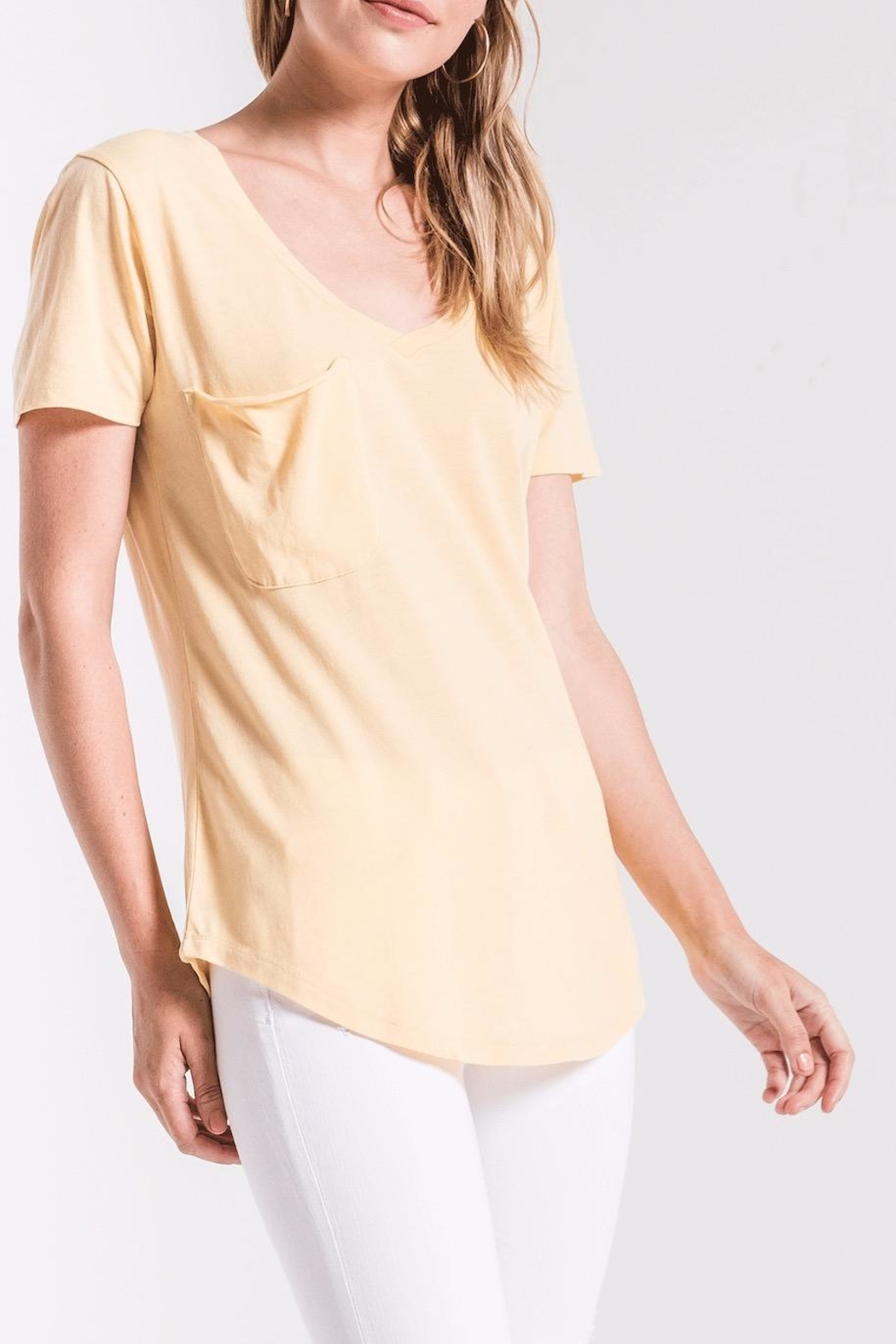 z supply Yellow Pocket Tee - Side Cropped Image