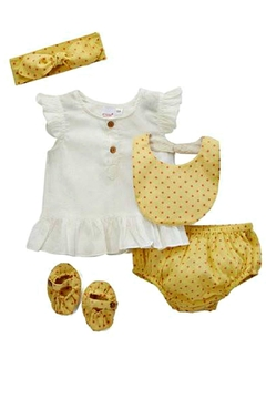 Shoptiques Product: Yellow-Polka-Dot Diaper-Cover Set