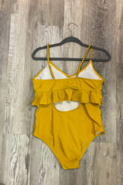 The Emerald Fox Boutique Yellow Ruffle one piece swimsuit - Product Mini Image
