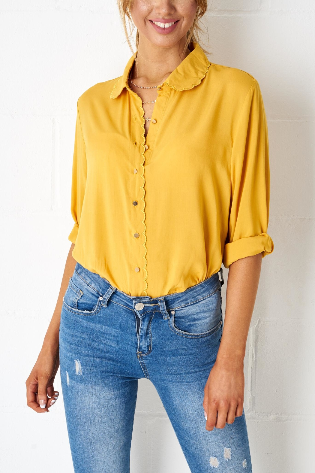 frontrow Yellow Scalloped Blouse - Main Image