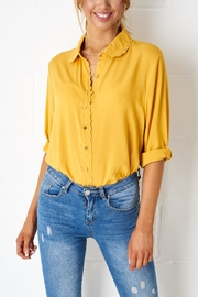 frontrow Yellow Scalloped Blouse - Product Mini Image