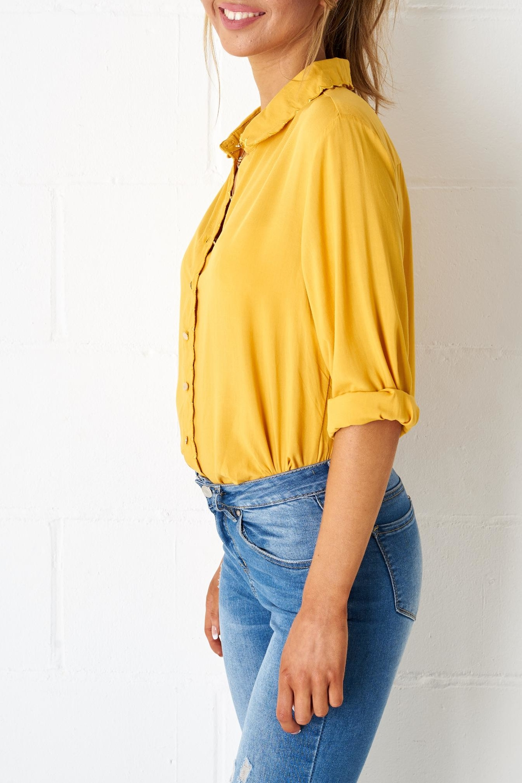 frontrow Yellow Scalloped Blouse - Front Full Image