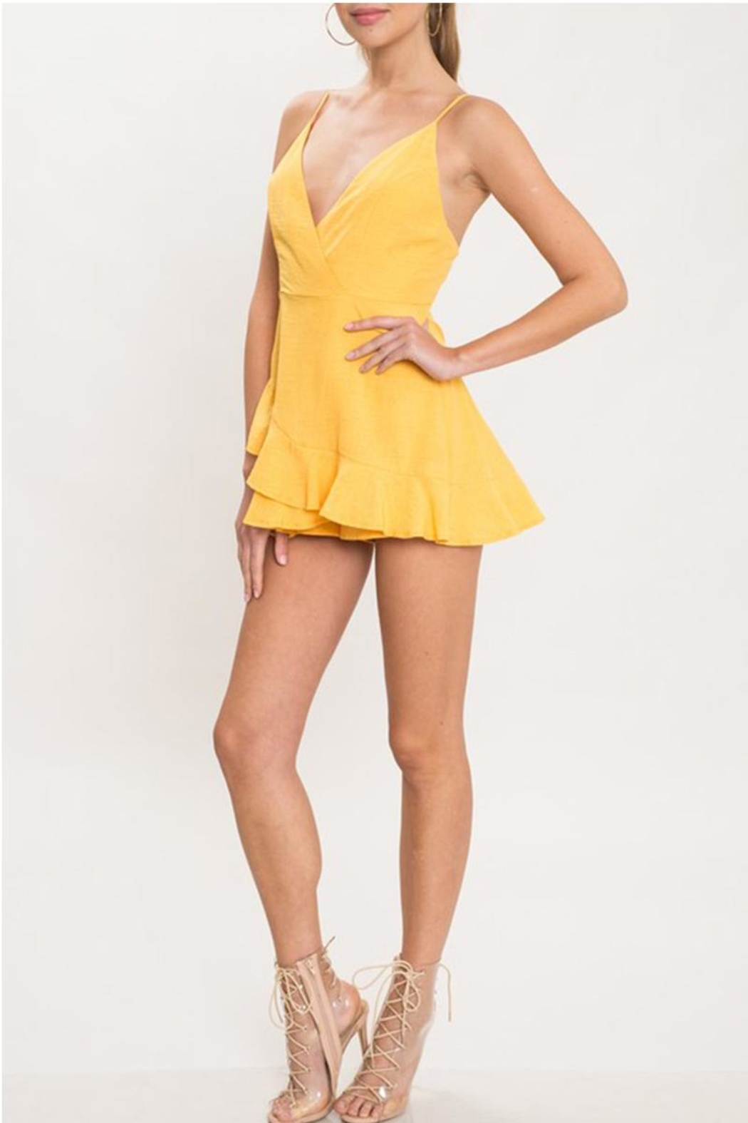 L'atiste Yellow Shift Romper - Front Full Image