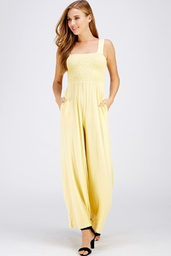 Wasabi + Mint Yellow Smocked Jumpsuit - Product List Image