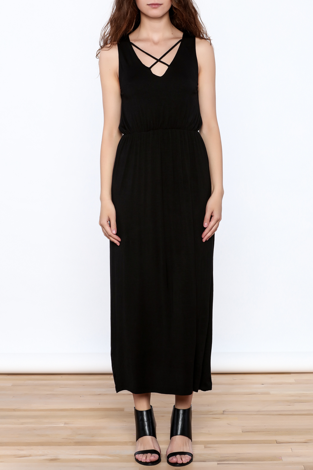 Yellow Star Black Sleeveless Midi Dress - Front Cropped Image