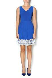 Yellow Star Royal Blue Pleated Dress - Front full body