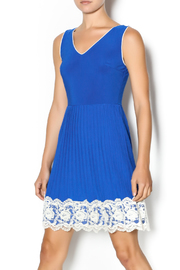 Yellow Star Royal Blue Pleated Dress - Front cropped