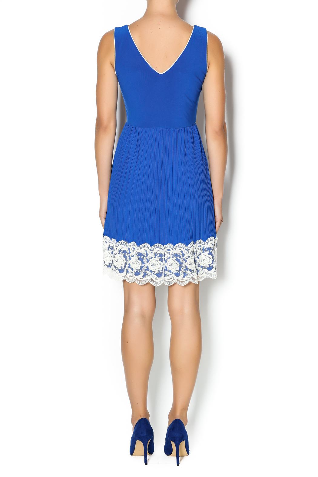 Yellow Star Royal Blue Pleated Dress - Side Cropped Image