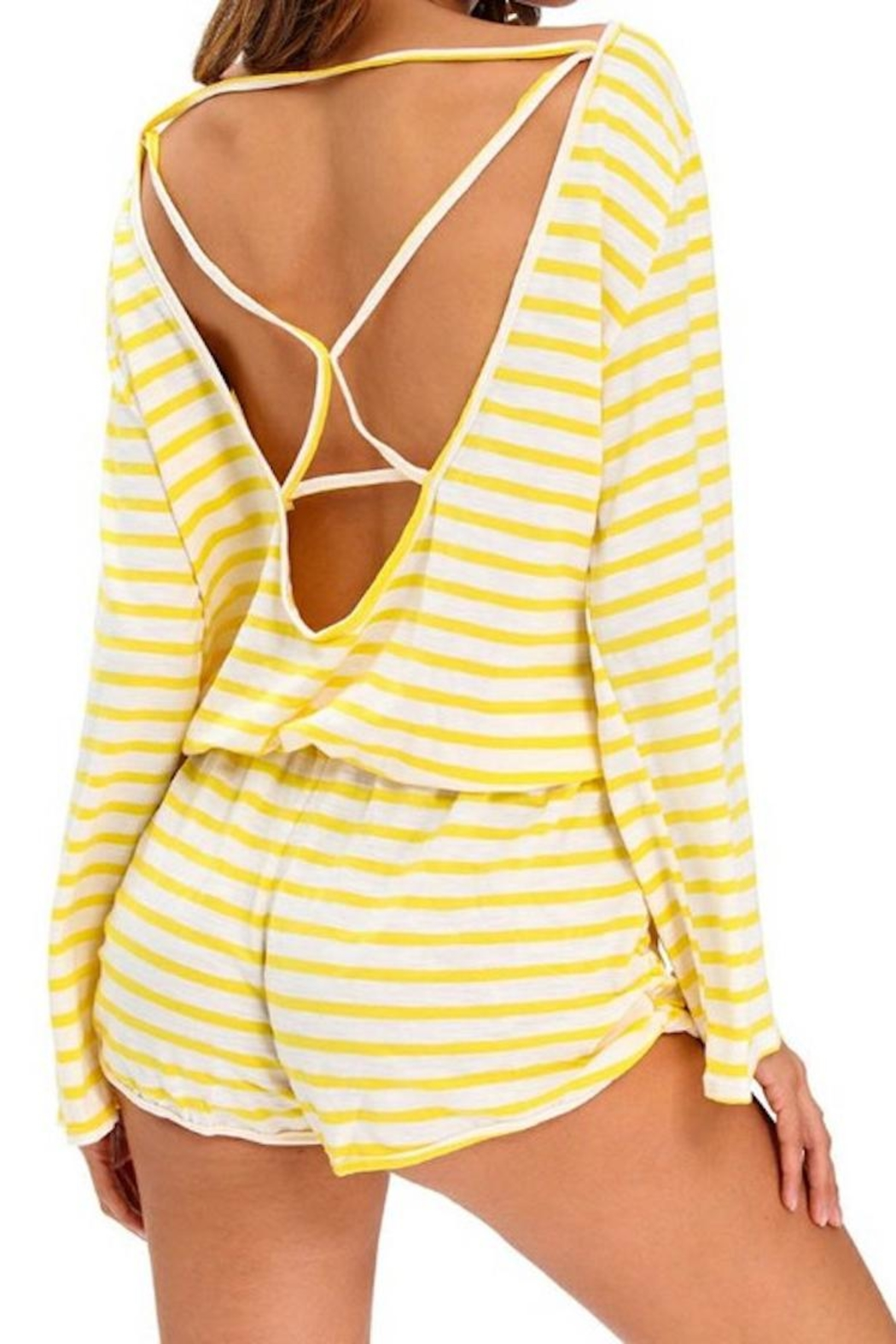 Queen Yellow Stripe Romper - Front Cropped Image