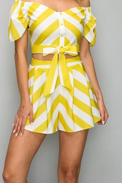 A Peach Yellow Stripe Shorts - Product List Image