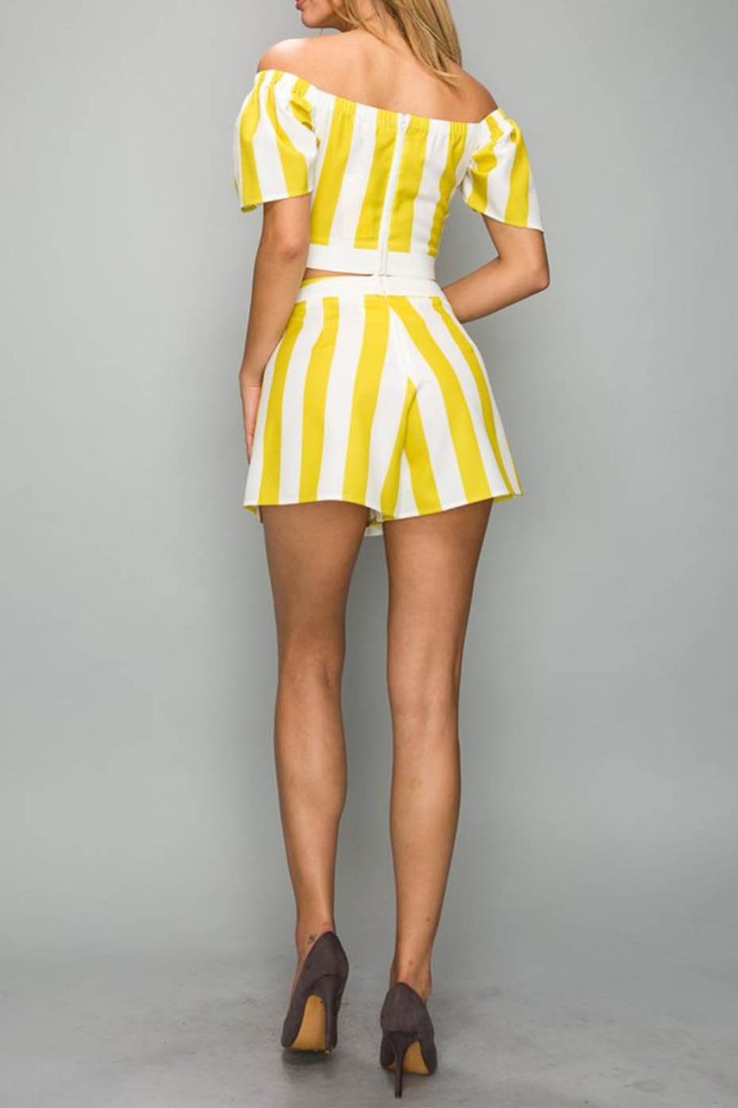 A Peach Yellow Stripe Top - Front Full Image