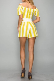 A Peach Yellow Stripe Top - Front full body
