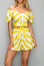 A Peach Yellow Stripe Top - Front cropped