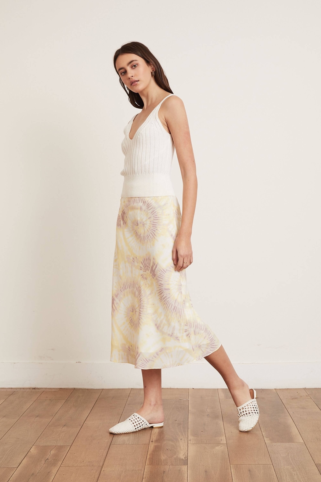 Lucy Paris  Yellow Tie Dye Skirt - Front Cropped Image