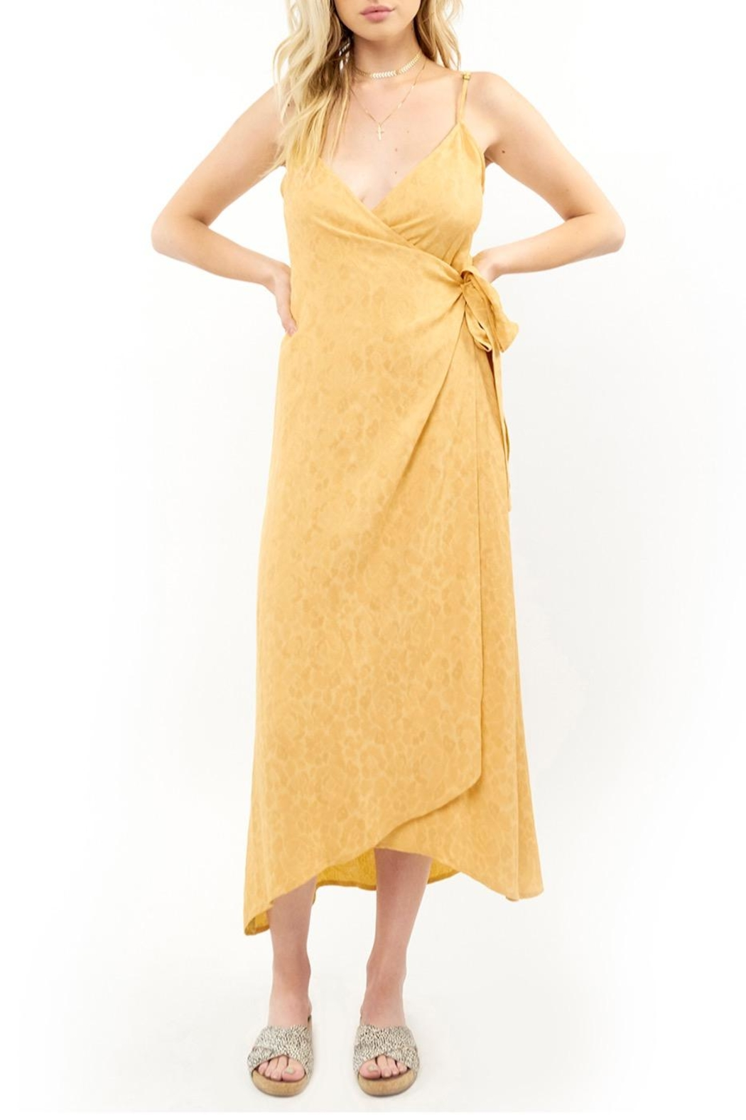 Saltwater Luxe Yellow Wrap Midi - Front Cropped Image