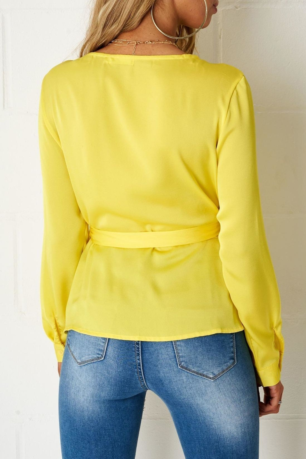 frontrow Yellow Wrap Top - Front Full Image