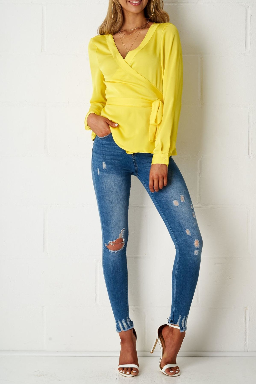frontrow Yellow Wrap Top - Side Cropped Image