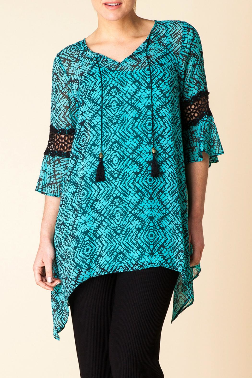 Yest Aqua Print Tunic - Front Cropped Image
