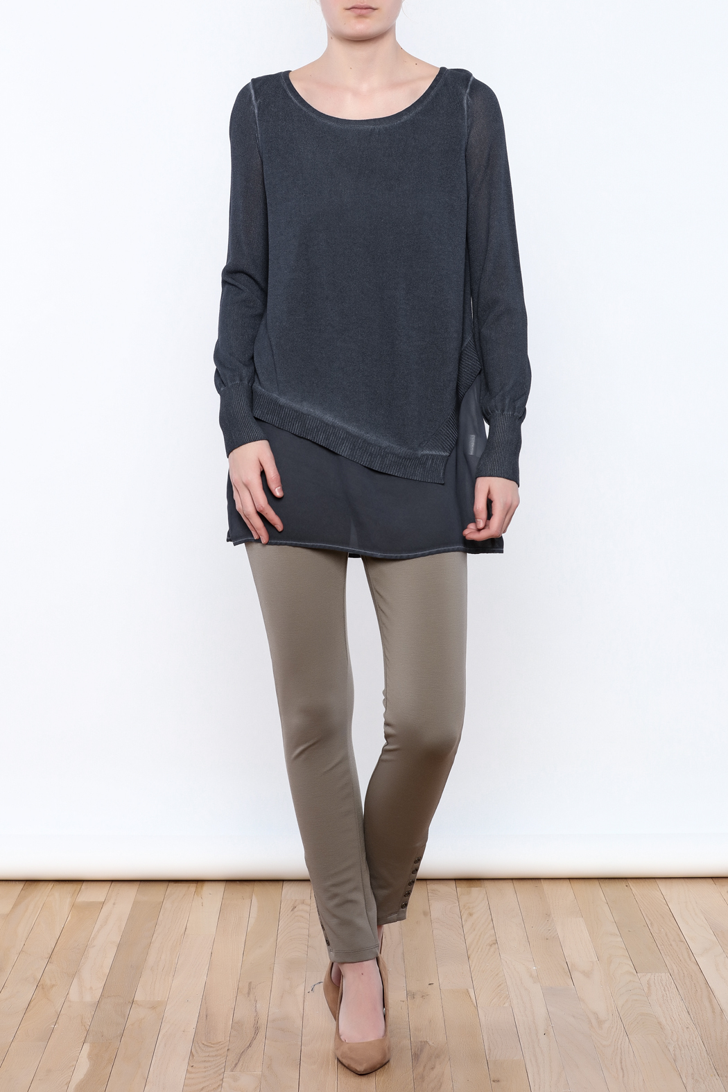 Yest Asymmetrical Knit Tunic - Front Full Image