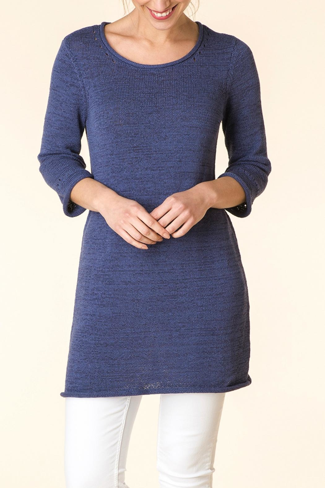 Yest Blue Knit Tunic - Front Full Image