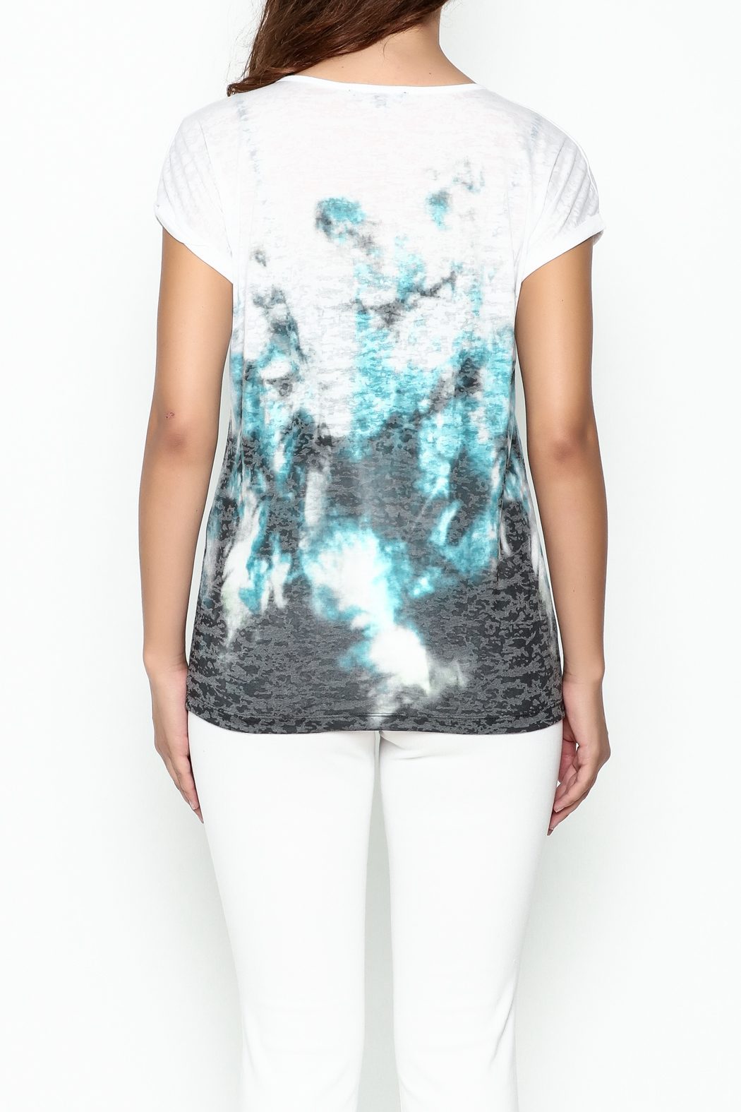 Yest Burnout Print  Tee - Back Cropped Image
