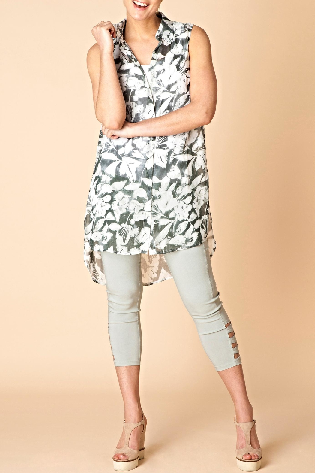 Yest Button Front Tunic Top - Main Image