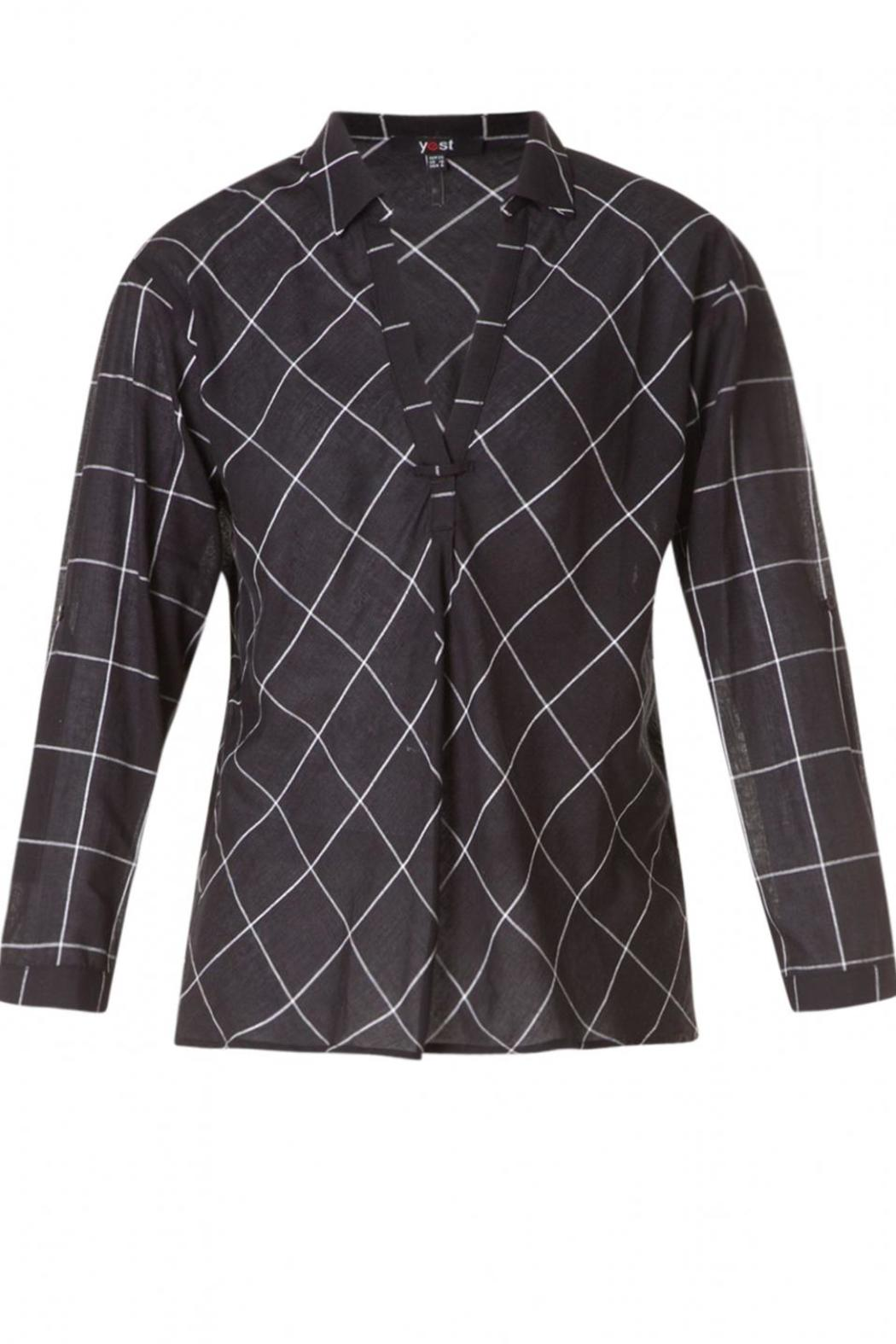 Yest Checkered Blouse - Back Cropped Image