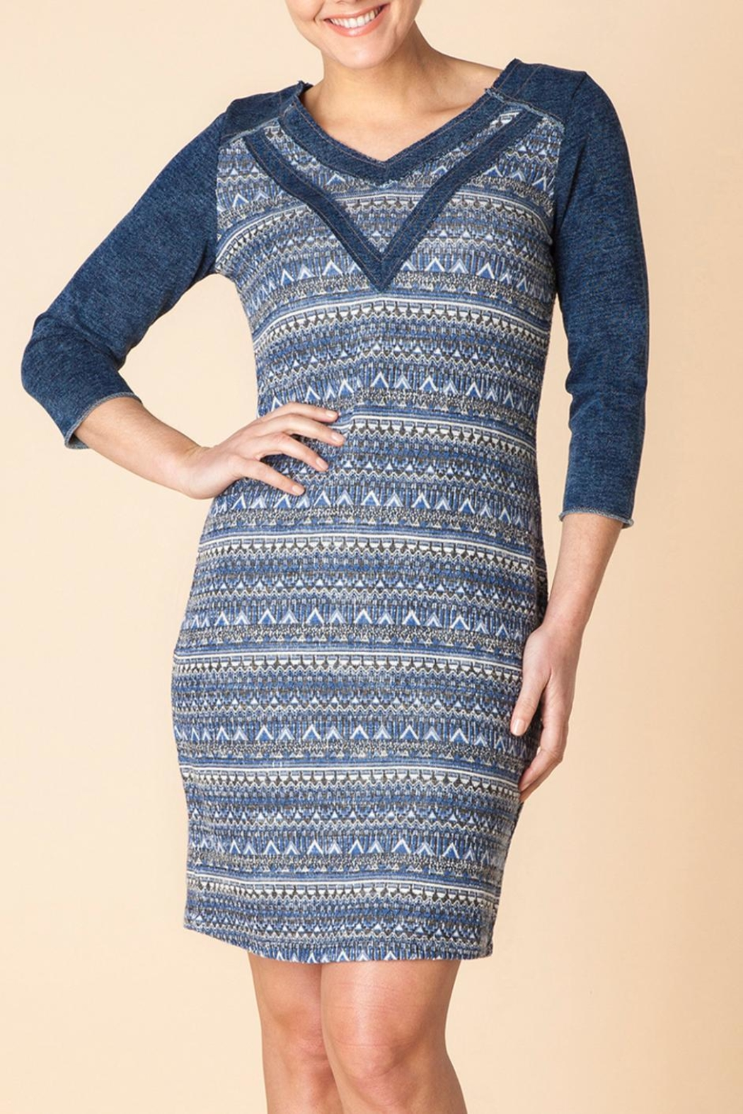 Yest Denim Knit Dress - Front Cropped Image