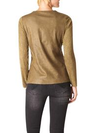 Yest Faux Suede Patch Top - Front full body