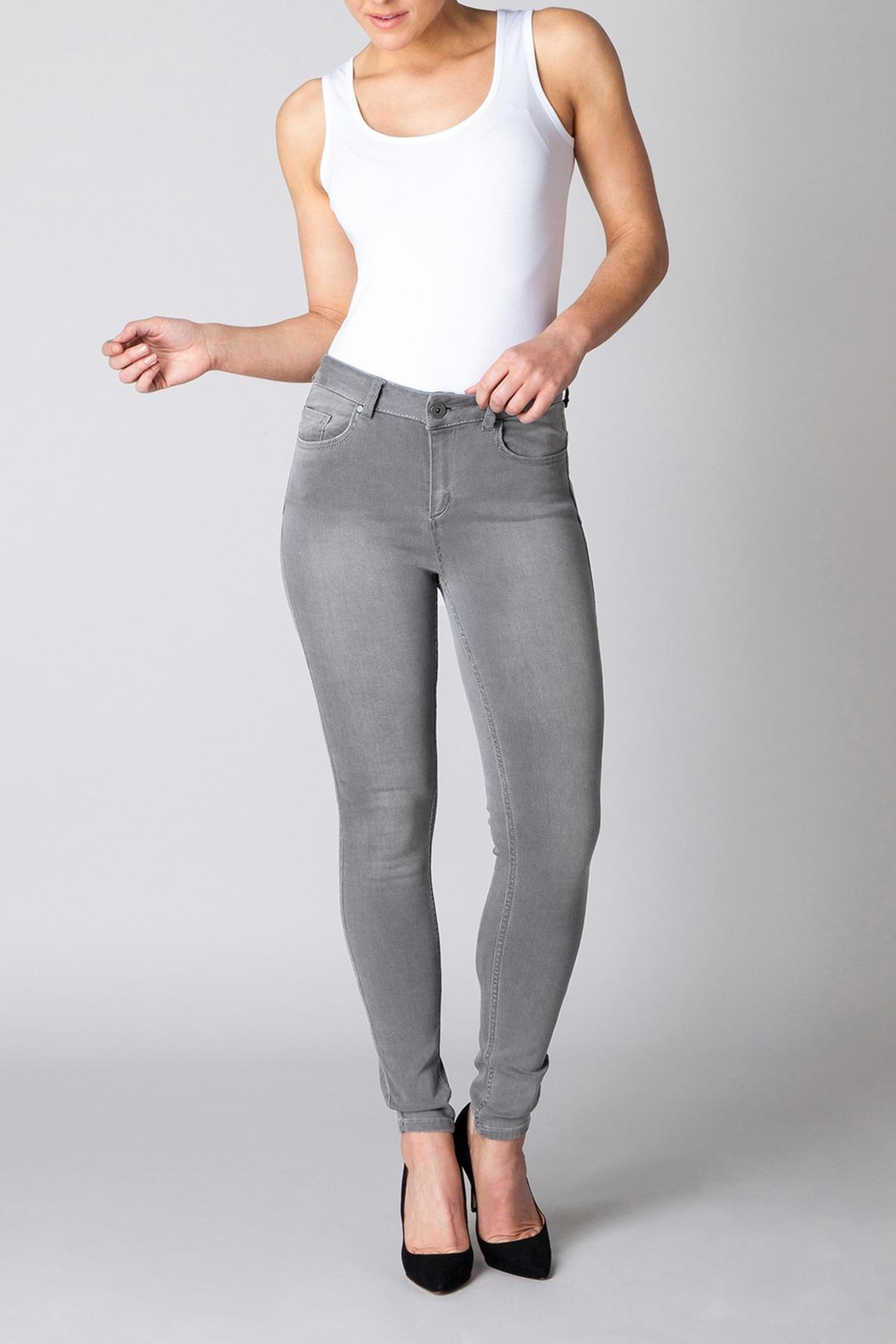 Yest Grey Slimming Jeans - Front Full Image