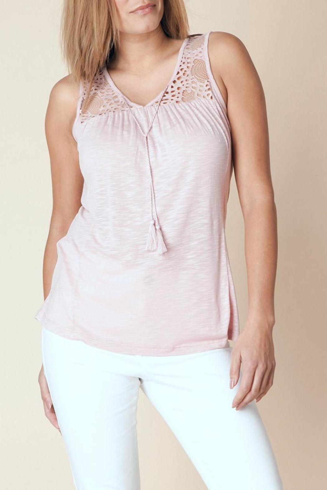 Yest Lace Tie Top - Front Cropped Image