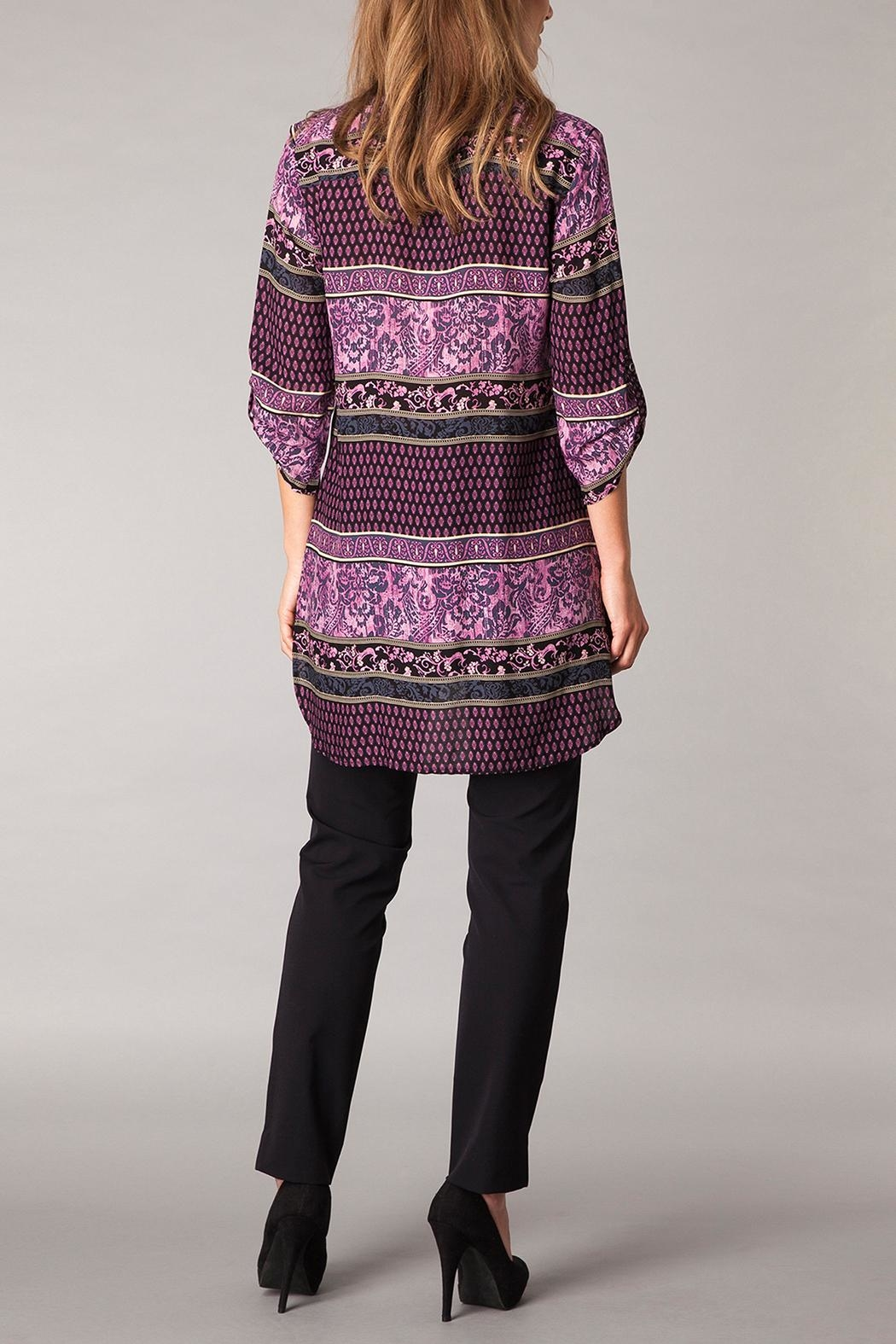 Yest Patterned Purple Tunic Top - Front Full Image