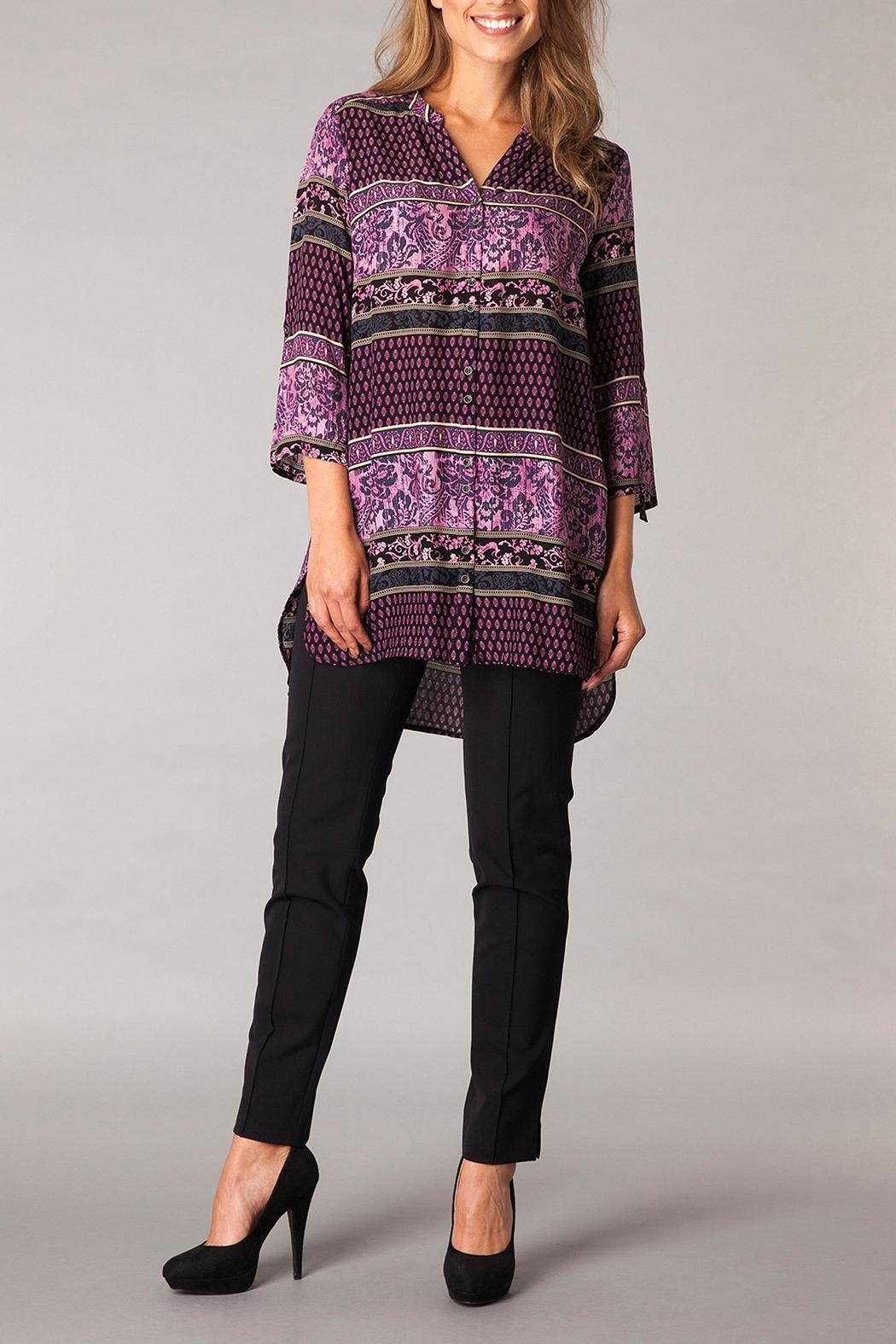 Yest Patterned Purple Tunic Top - Main Image