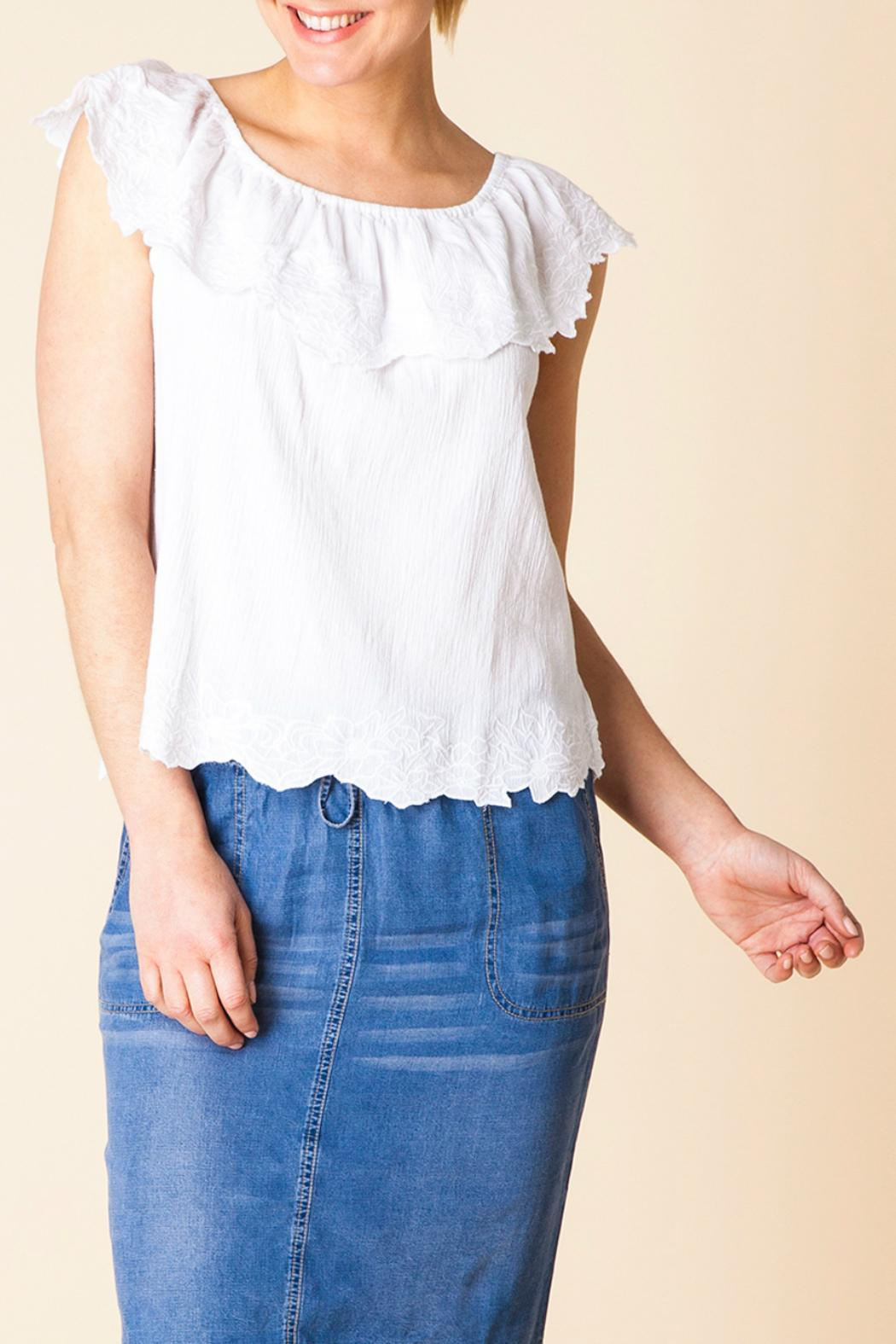 Yest Ruffle Shoulder Top - Main Image