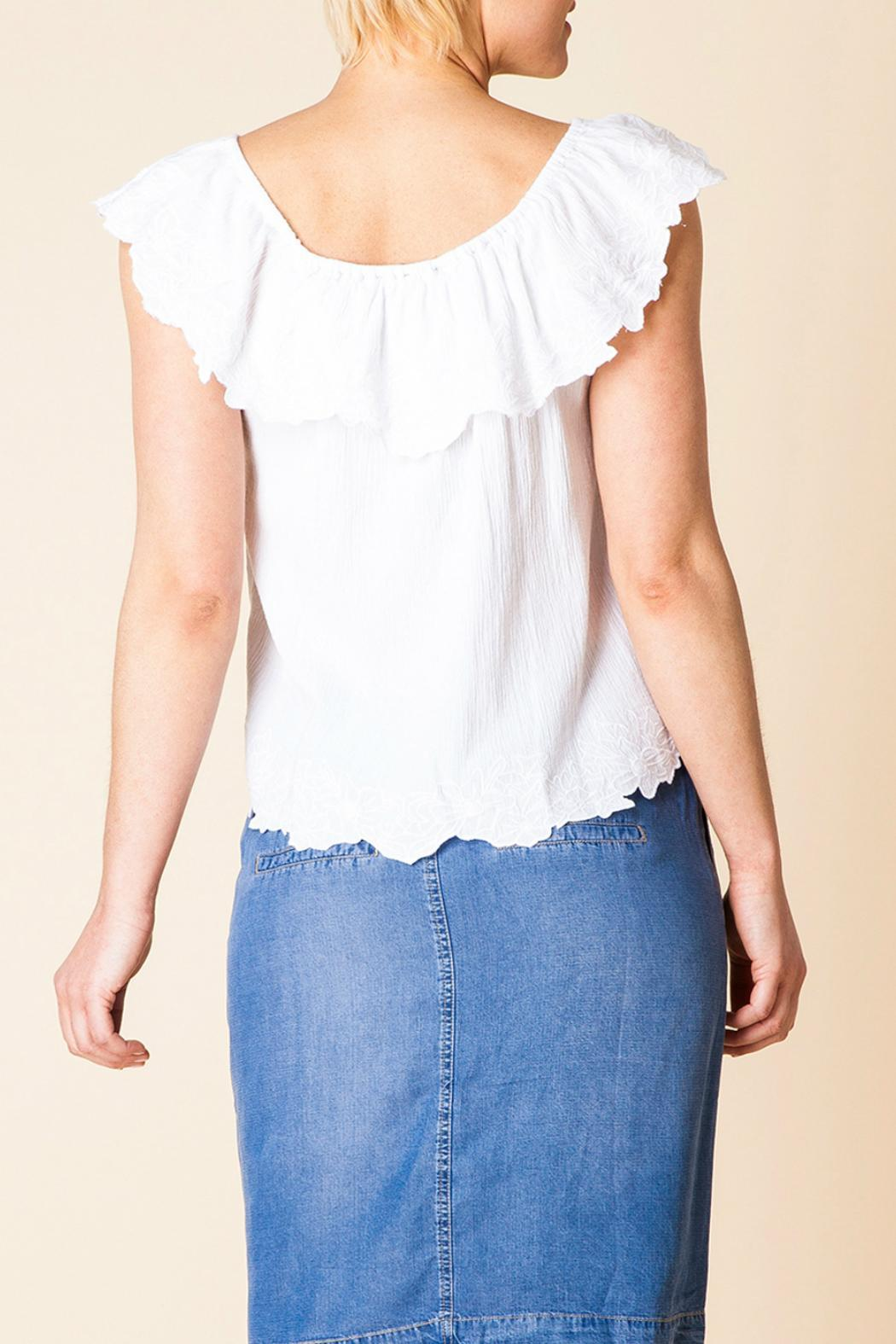 Yest Ruffle Shoulder Top - Front Full Image