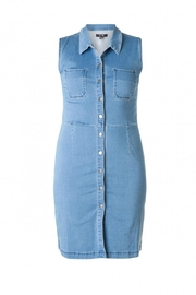 Yest Sleeveless Denim Dress - Front cropped