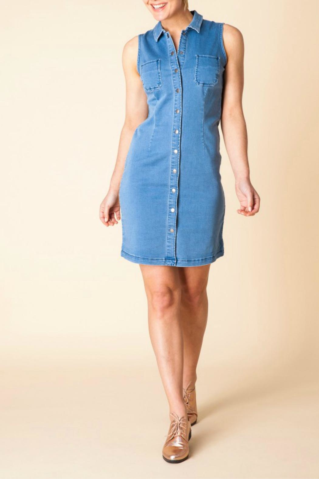 Yest Sleeveless Denim Dress - Front Full Image