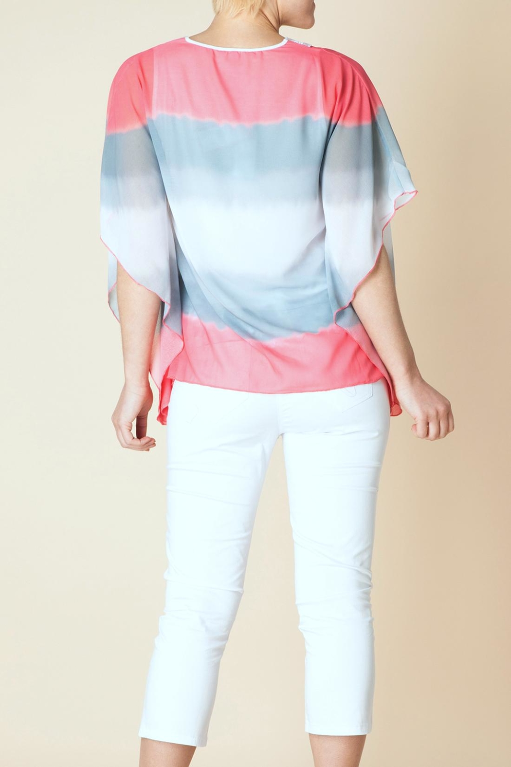Yest Stripe Silky Poncho - Front Full Image