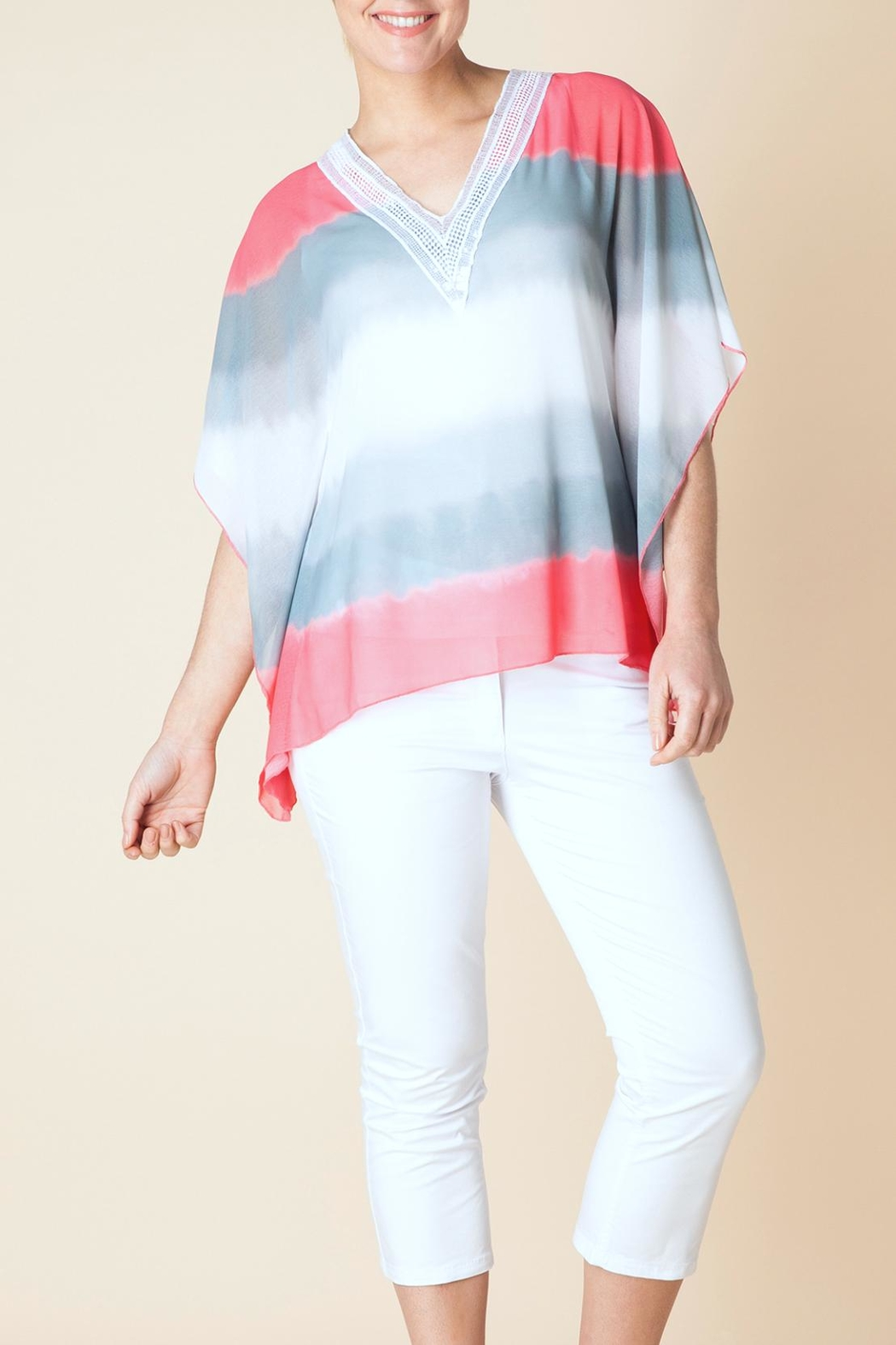 Yest Stripe Silky Poncho - Main Image