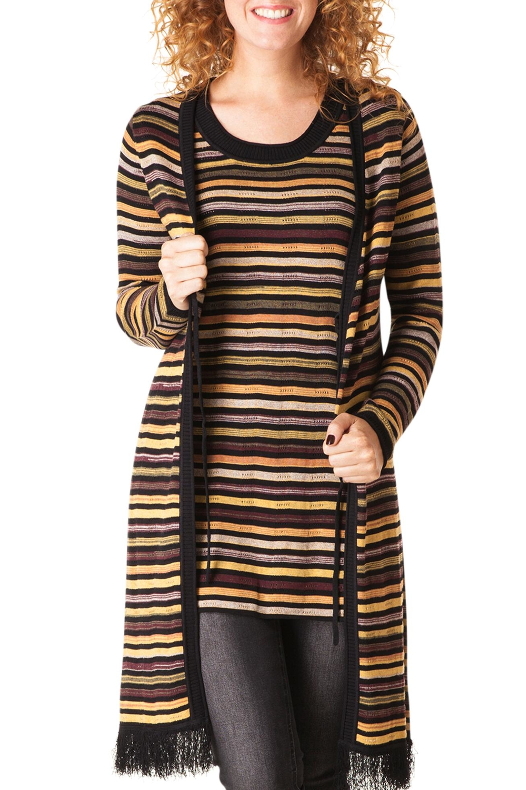 Yest Striped Long Cardigan - Main Image