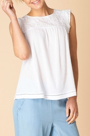 Yest White Eyelet Top - Front cropped