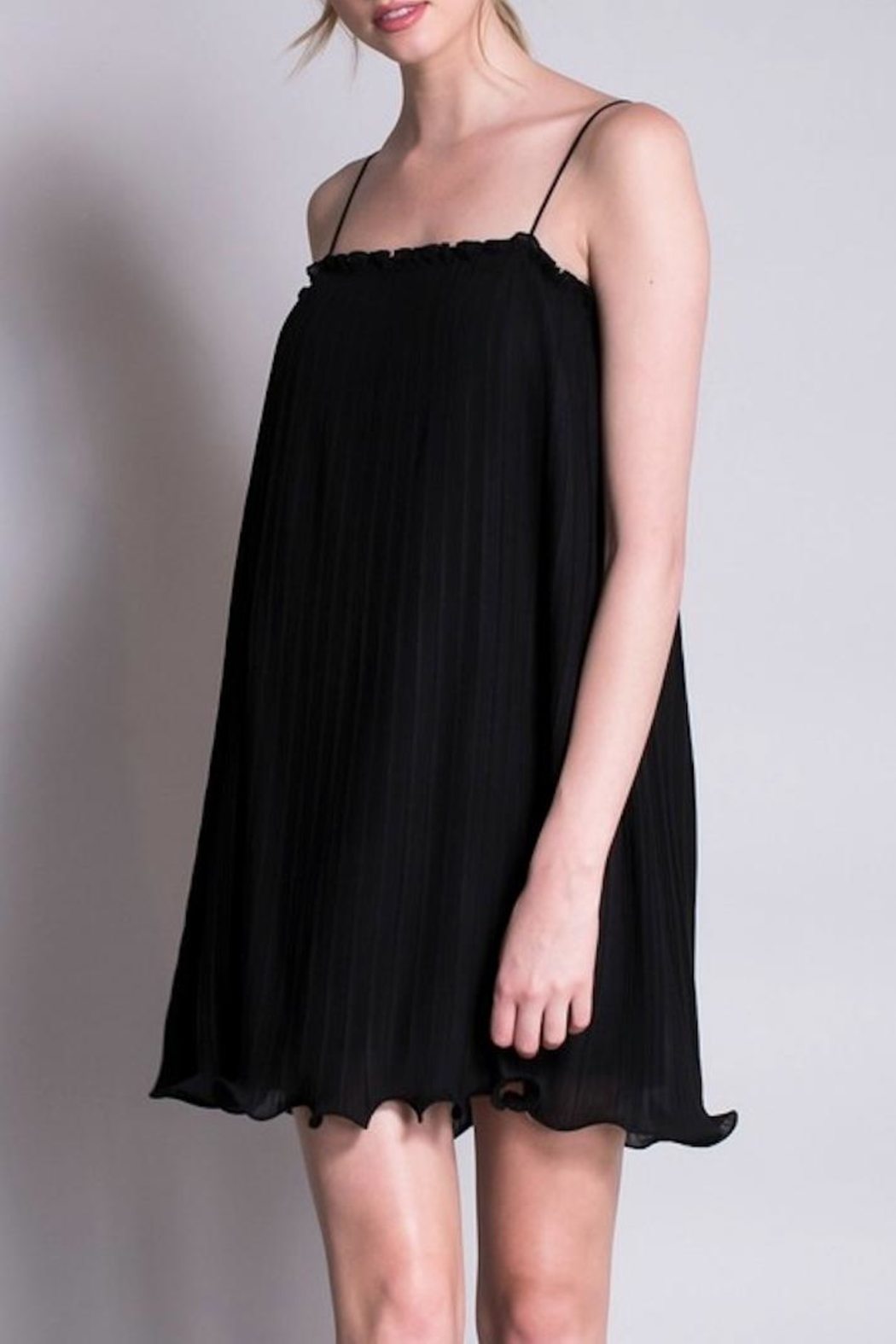 Yipsy Crinkle Black Dress - Main Image